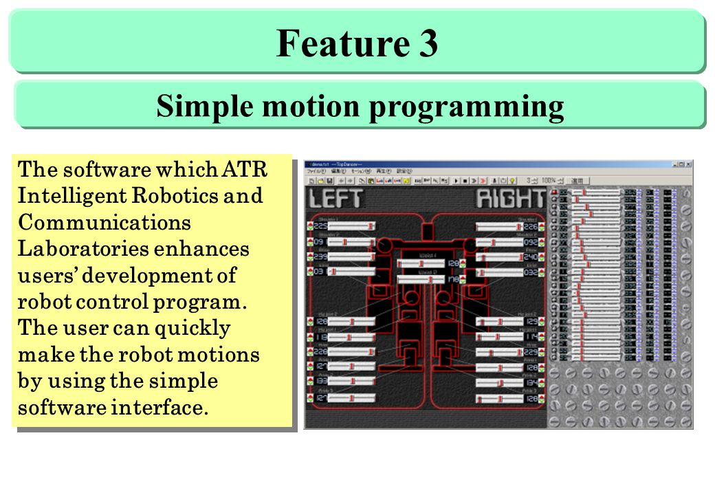 Feature 3 The software which ATR Intelligent Robotics and Communications Laboratories enhances users' development of robot control program.