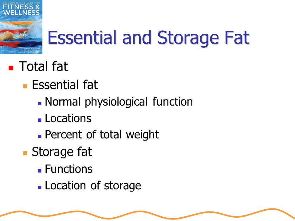Essential and Storage Fat Total fat Essential fat Normal physiological function Locations Percent of total weight Storage fat Functions Location of storage
