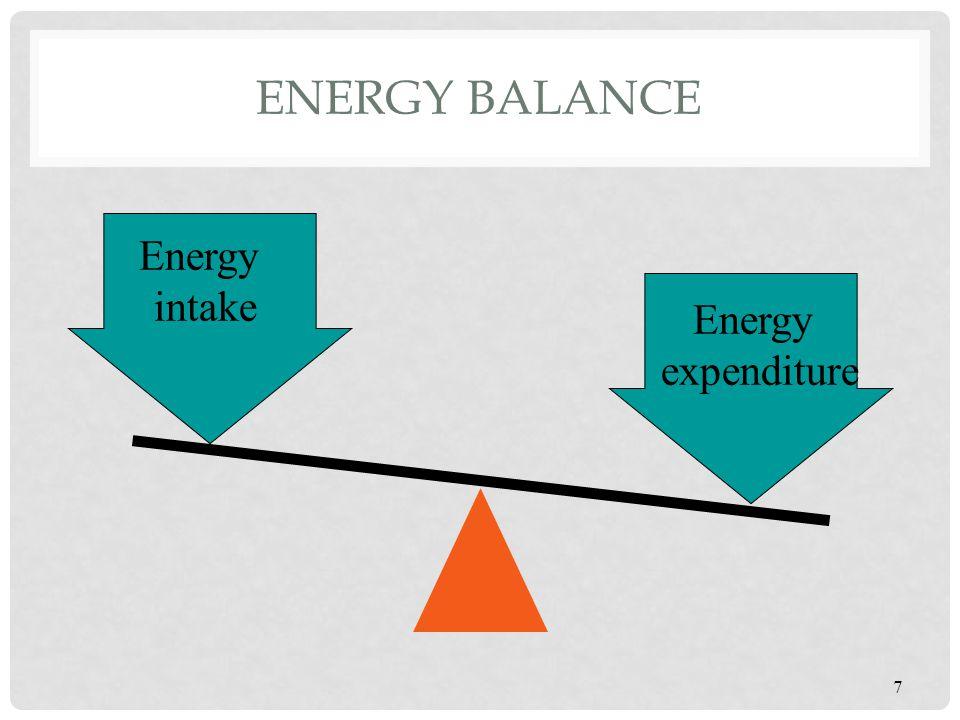 ENERGY BALANCE Energy equilibrium Energy intake equals energy expenditure Positive energy balance Energy intake greater than energy expenditure Negative energy balance Energy intake less than energy expenditure 8