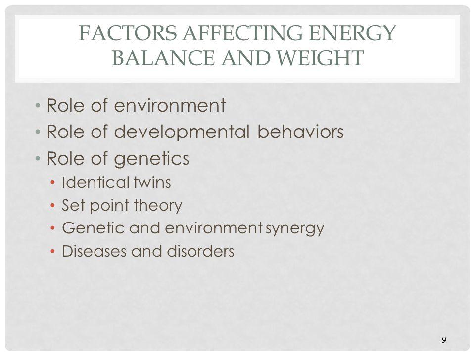 OBESITY: A MULTIFACTORIAL DISORDER 10 Development Behaviors/likes, etc 'hard wired in' Genetics Environment