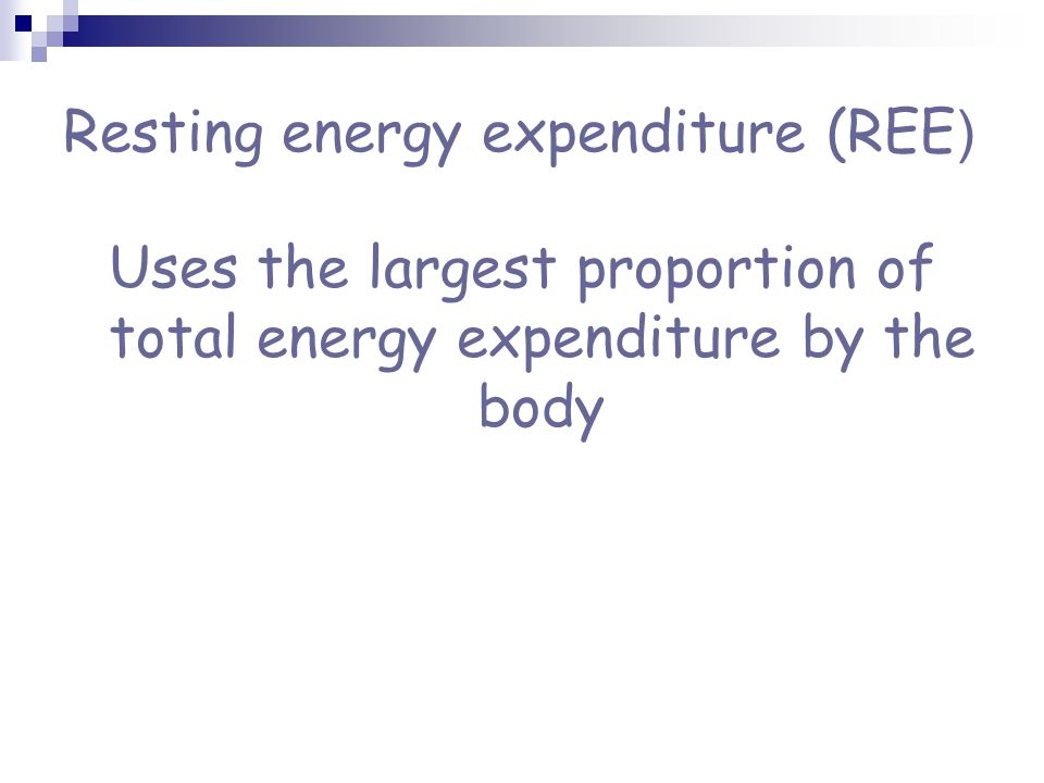 Resting energy expenditure (REE ) Uses the largest proportion of total energy expenditure by the body