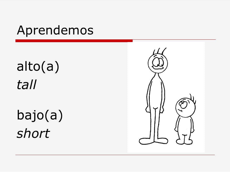 Aprendemos alto(a) tall bajo(a) short