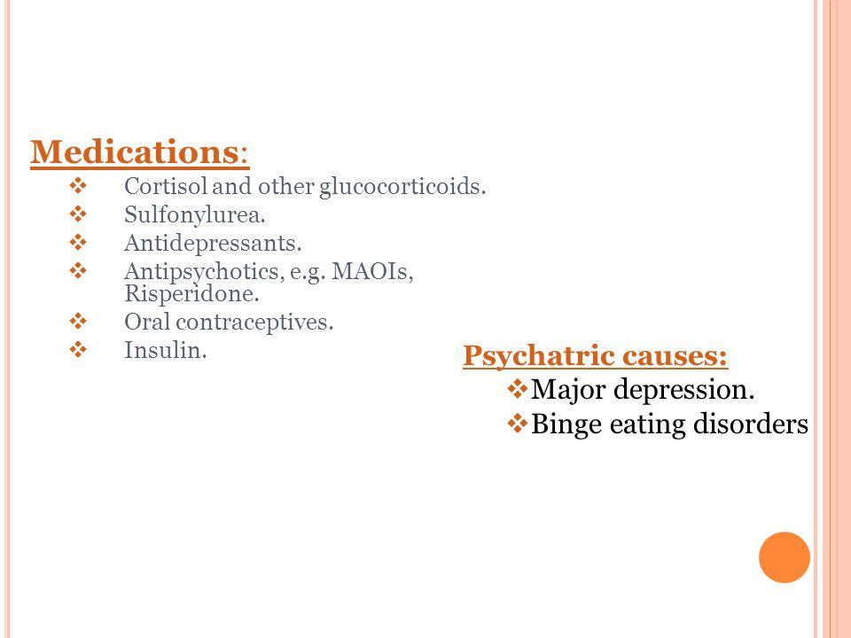 Medications:  Cortisol and other glucocorticoids.  Sulfonylurea.  Antidepressants.  Antipsychotics, e.g. MAOIs, Risperidone.  Oral contraceptives