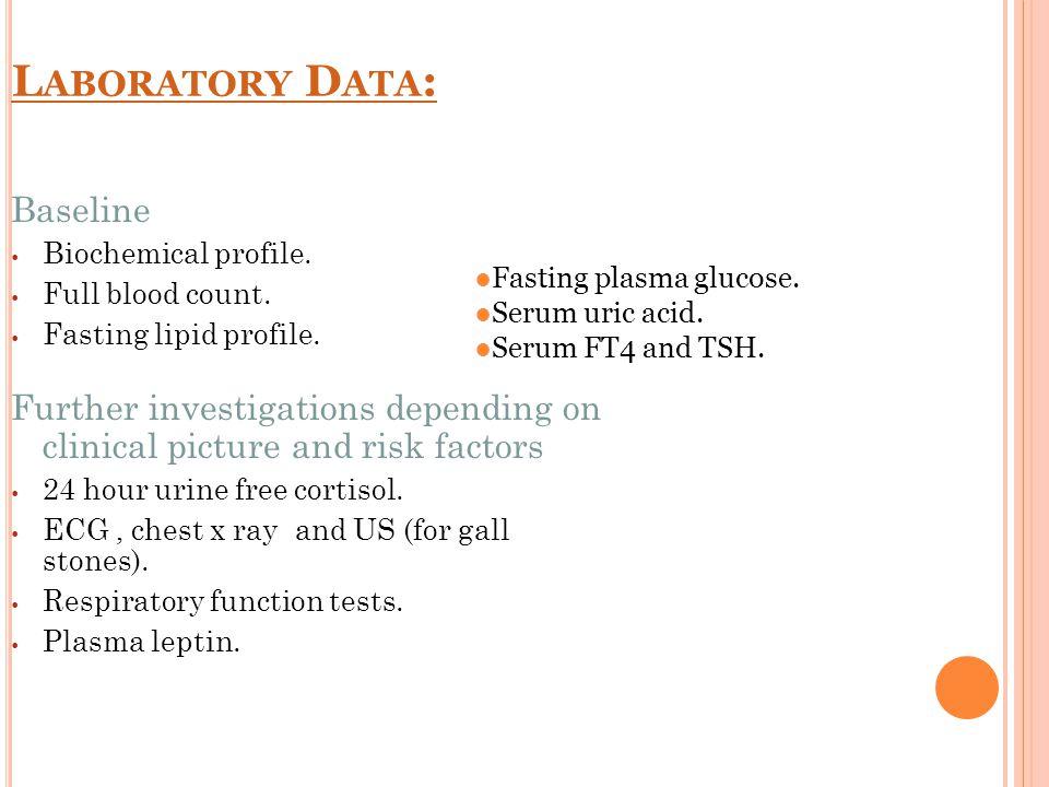 L ABORATORY D ATA : Baseline Biochemical profile. Full blood count.