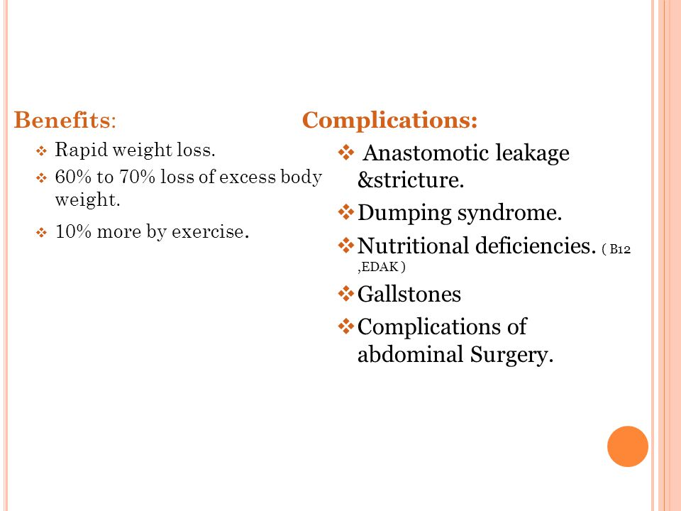 Benefits :  Rapid weight loss.  60% to 70% loss of excess body weight.