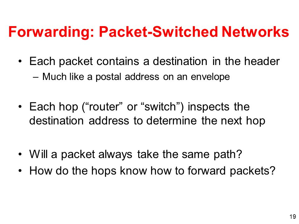 19 Forwarding: Packet-Switched Networks Each packet contains a destination in the header –Much like a postal address on an envelope Each hop ( router or switch ) inspects the destination address to determine the next hop Will a packet always take the same path.
