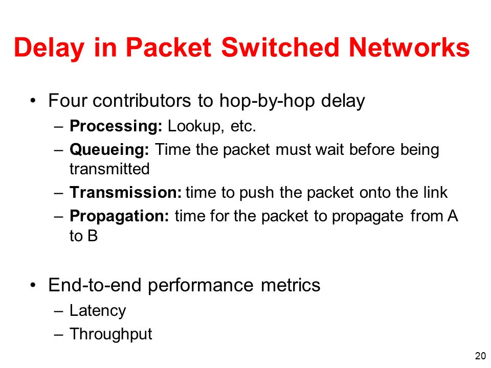 20 Delay in Packet Switched Networks Four contributors to hop-by-hop delay –Processing: Lookup, etc. –Queueing: Time the packet must wait before being