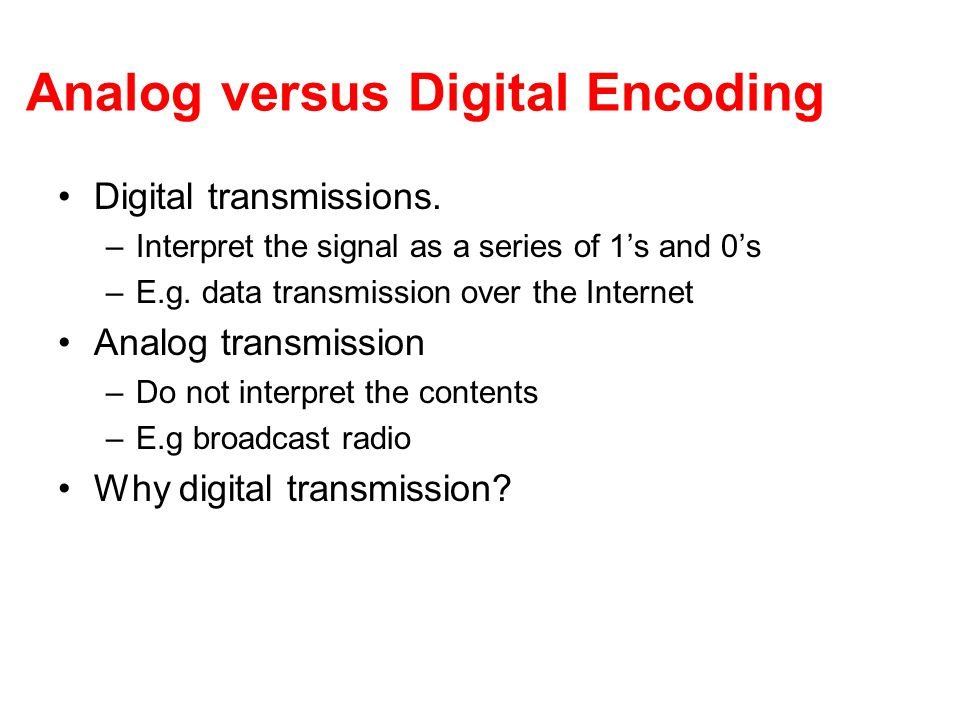 Analog versus Digital Encoding Digital transmissions.