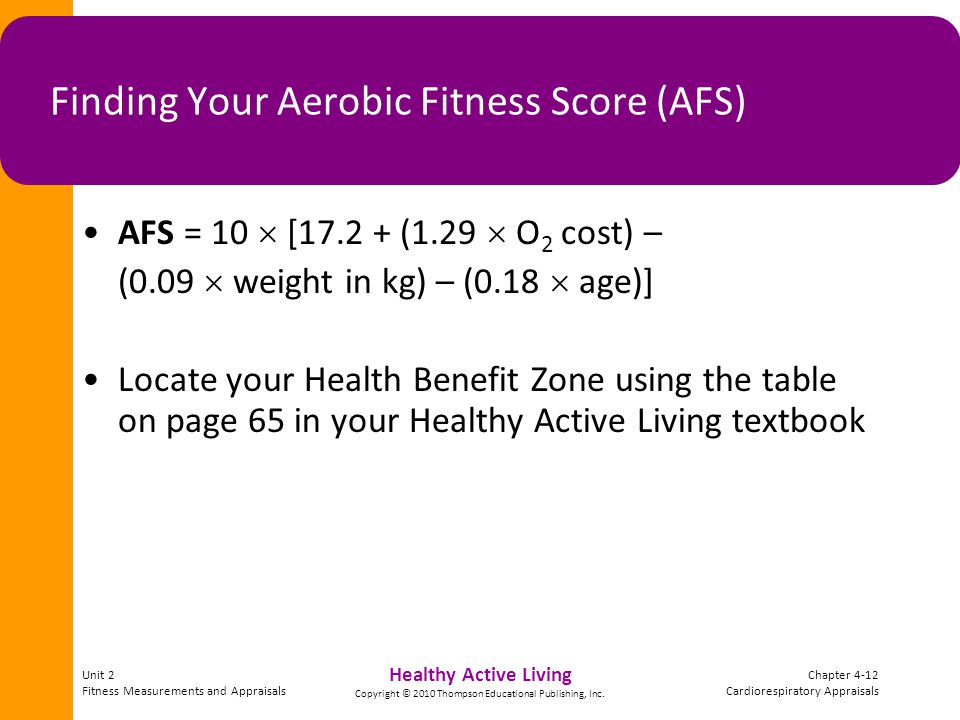 Unit 2 Fitness Measurements and Appraisals Chapter 4-12 Cardiorespiratory Appraisals Healthy Active Living Copyright © 2010 Thompson Educational Publi
