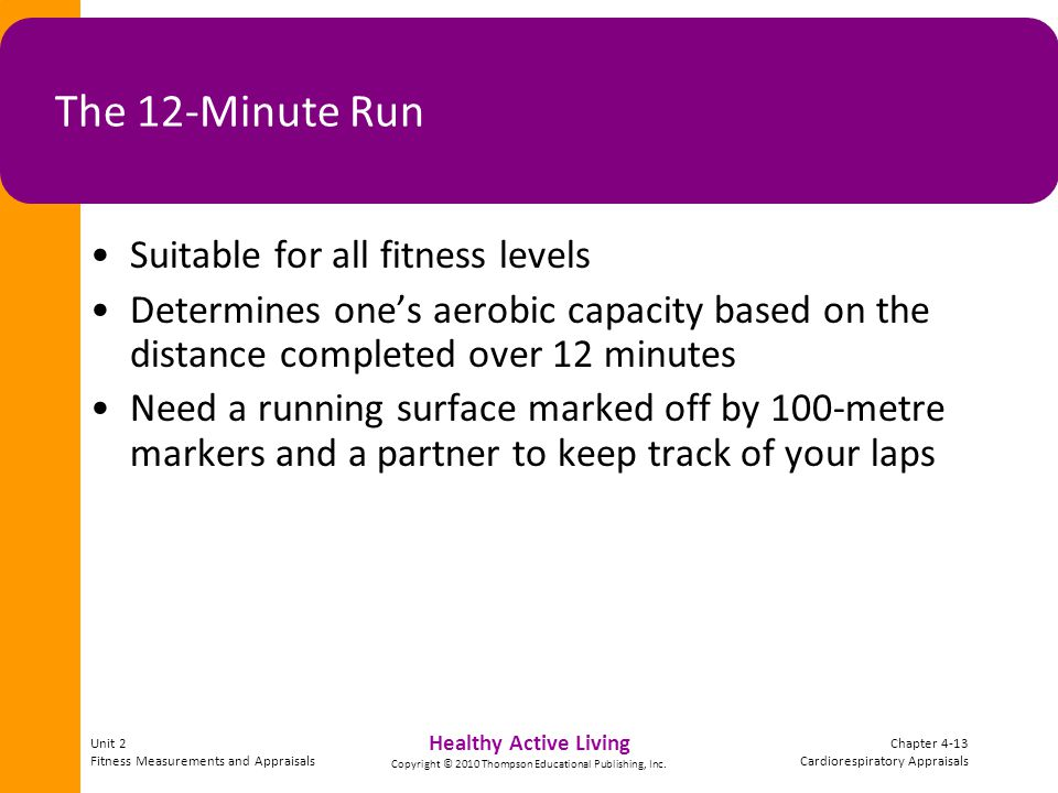 Unit 2 Fitness Measurements and Appraisals Chapter 4-13 Cardiorespiratory Appraisals Healthy Active Living Copyright © 2010 Thompson Educational Publishing, Inc.
