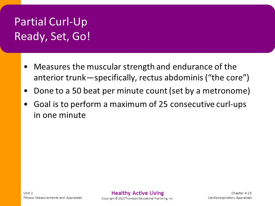 Unit 2 Fitness Measurements and Appraisals Chapter 4-23 Cardiorespiratory Appraisals Healthy Active Living Copyright © 2010 Thompson Educational Publishing, Inc.