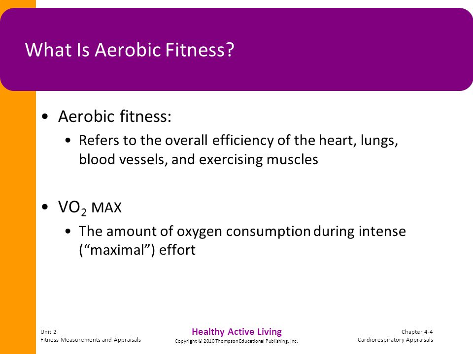 Unit 2 Fitness Measurements and Appraisals Chapter 4-15 Cardiorespiratory Appraisals Healthy Active Living Copyright © 2010 Thompson Educational Publishing, Inc.