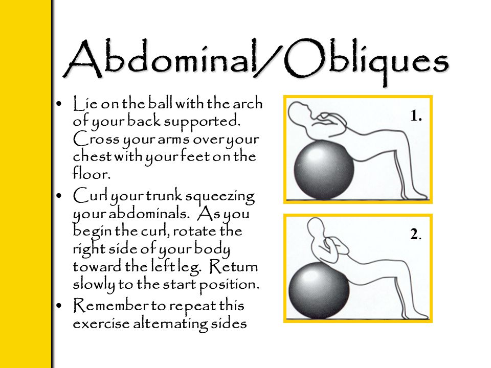 Abdominal/Obliques Lie on the ball with the arch of your back supported. Cross your arms over your chest with your feet on the floor. Curl your trunk