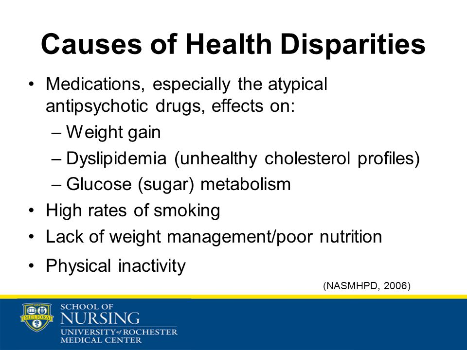 Causes of Health Disparities Medications, especially the atypical antipsychotic drugs, effects on: –Weight gain –Dyslipidemia (unhealthy cholesterol profiles) –Glucose (sugar) metabolism High rates of smoking Lack of weight management/poor nutrition Physical inactivity (NASMHPD, 2006)