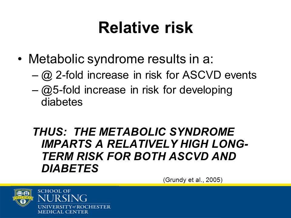 Relative risk Metabolic syndrome results in a: –@ 2-fold increase in risk for ASCVD events –@5-fold increase in risk for developing diabetes THUS: THE METABOLIC SYNDROME IMPARTS A RELATIVELY HIGH LONG- TERM RISK FOR BOTH ASCVD AND DIABETES (Grundy et al., 2005)