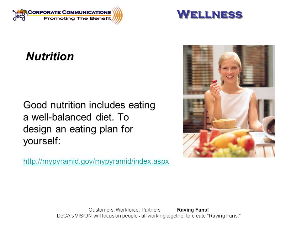 http://mypyramid.gov/mypyramid/index.aspx Good nutrition includes eating a well-balanced diet.