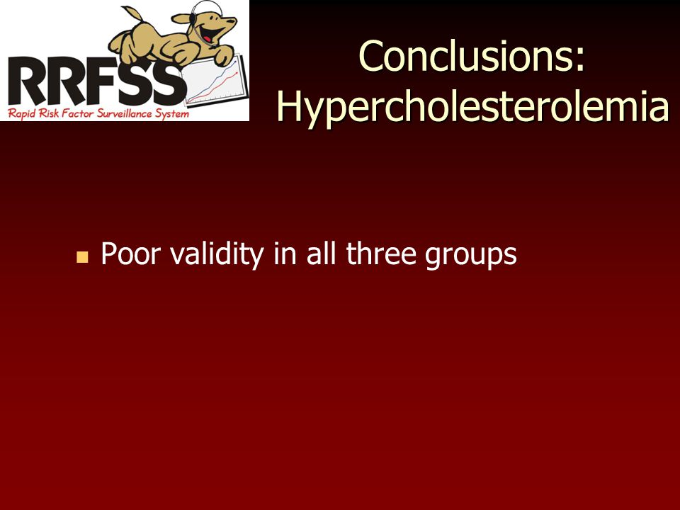 Conclusions: Hypercholesterolemia Poor validity in all three groups