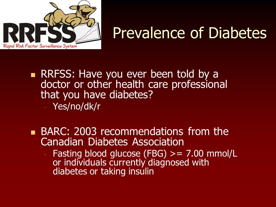 Prevalence of Diabetes RRFSS: Have you ever been told by a doctor or other health care professional that you have diabetes.