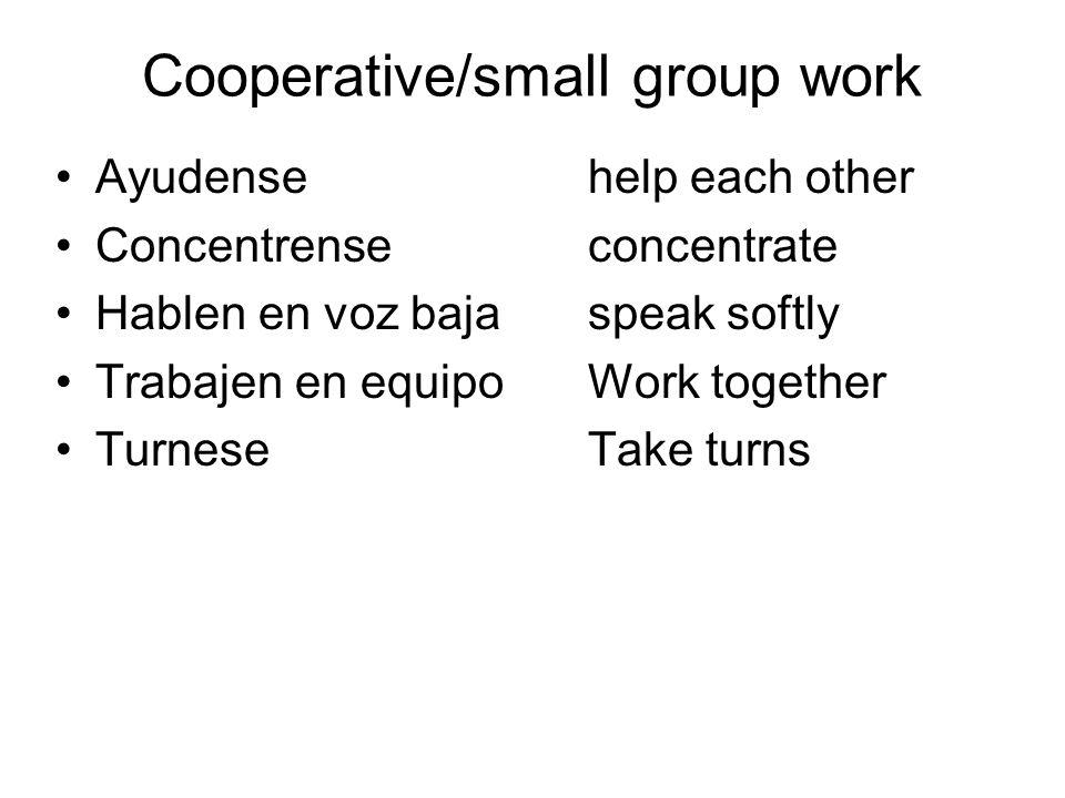 Cooperative/small group work Ayudensehelp each other Concentrenseconcentrate Hablen en voz bajaspeak softly Trabajen en equipoWork together TurneseTake turns