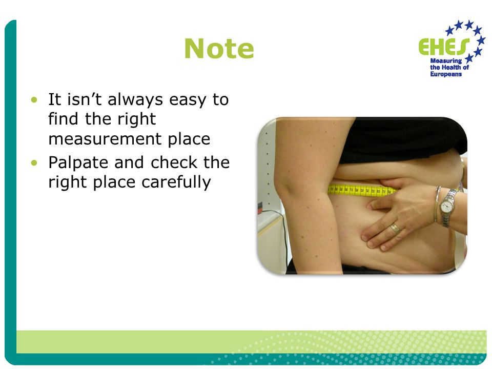 Note It isn't always easy to find the right measurement place Palpate and check the right place carefully