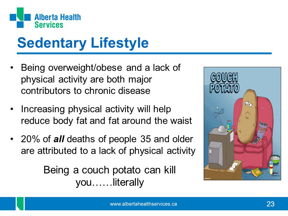23 Sedentary Lifestyle Being overweight/obese and a lack of physical activity are both major contributors to chronic disease Increasing physical activity will help reduce body fat and fat around the waist 20% of all deaths of people 35 and older are attributed to a lack of physical activity Being a couch potato can kill you……literally