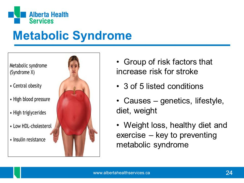 24 Metabolic Syndrome Group of risk factors that increase risk for stroke 3 of 5 listed conditions Causes – genetics, lifestyle, diet, weight Weight loss, healthy diet and exercise – key to preventing metabolic syndrome