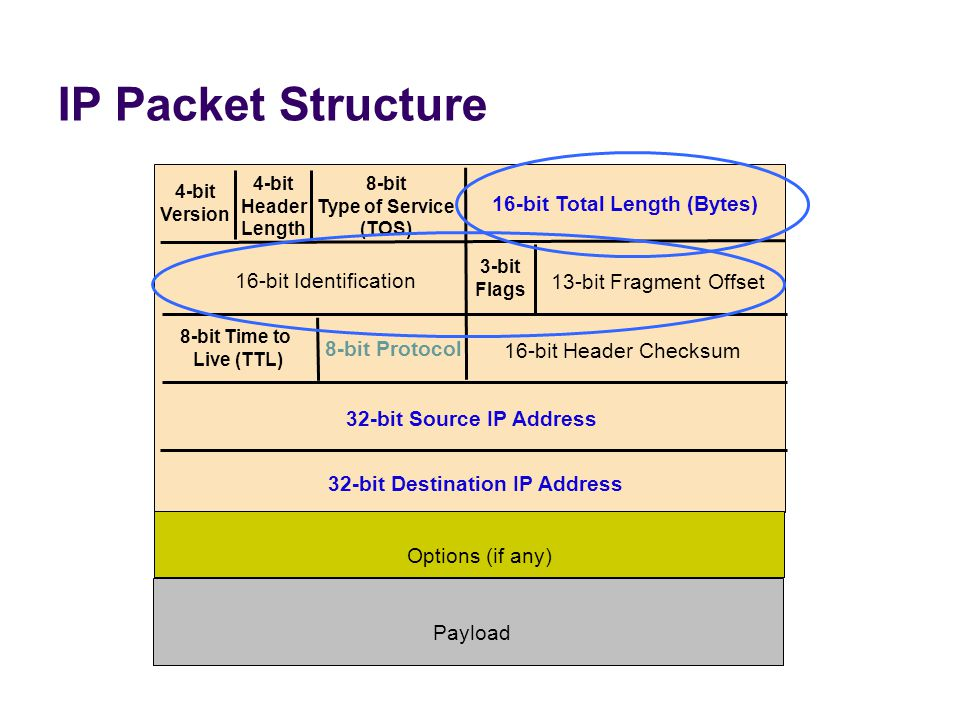 IP Packet Structure 4-bit Version 4-bit Header Length 8-bit Type of Service (TOS) 16-bit Total Length (Bytes) 16-bit Identification 3-bit Flags 13-bit