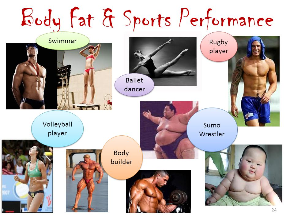 Body Fat & Sports Performance Swimmer Ballet dancer Ballet dancer Rugby player Rugby player Volleyball player Volleyball player Body builder Body builder Sumo Wrestler Sumo Wrestler 24