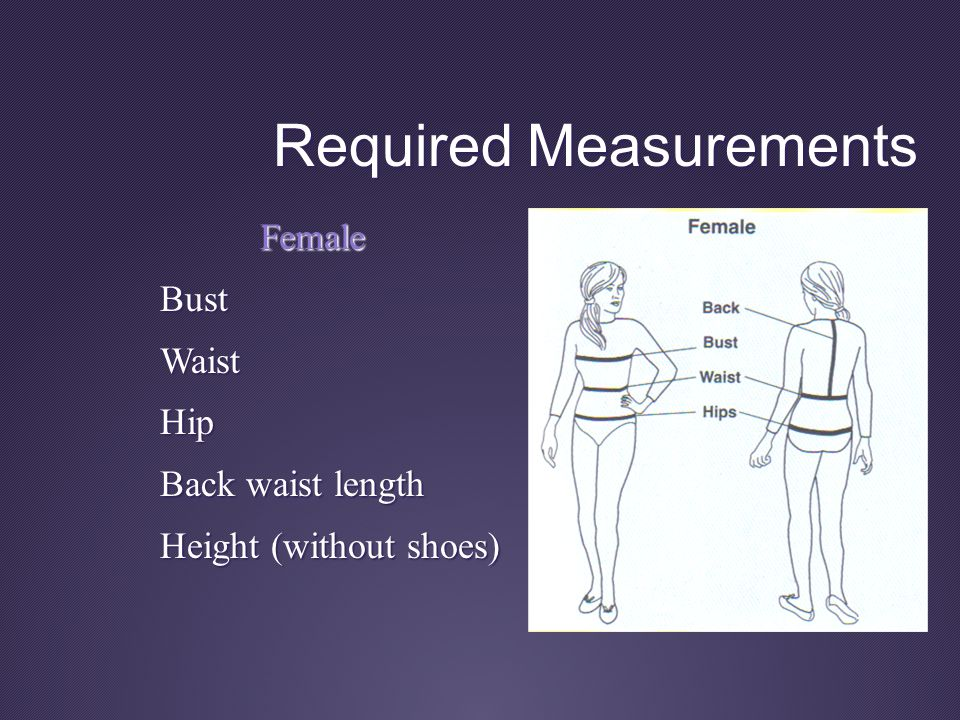 Required Measurements Female Bust BustWaistHip Back waist length Height (without shoes)