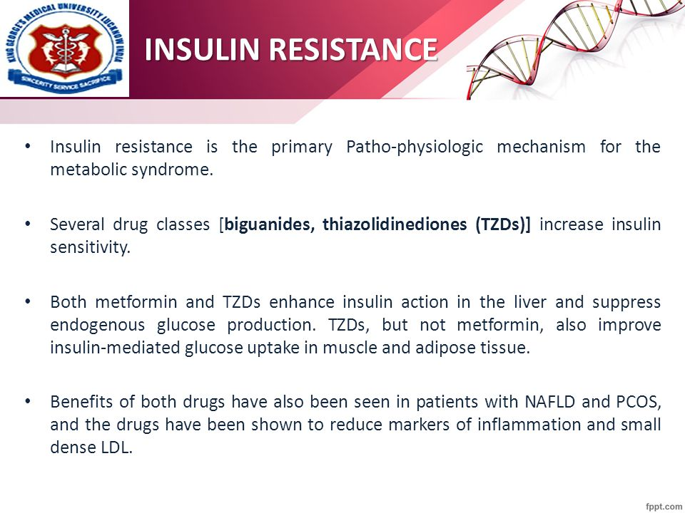 Insulin resistance is the primary Patho-physiologic mechanism for the metabolic syndrome. Several drug classes [biguanides, thiazolidinediones (TZDs)]