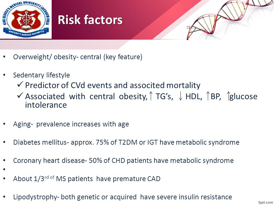 Risk factors Overweight/ obesity- central (key feature) Sedentary lifestyle Predictor of CVd events and associted mortality Associated with central ob