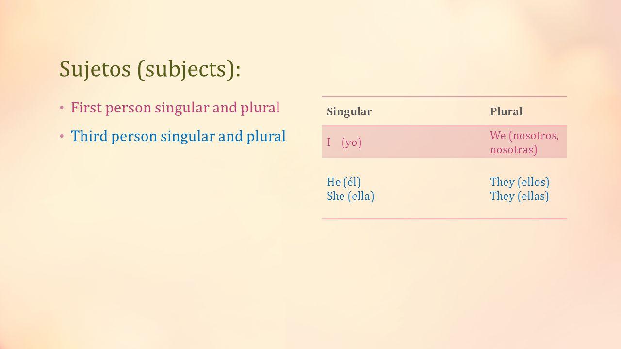 Sujetos (subjects): First person singular and plural Third person singular and plural SingularPlural I (yo) We (nosotros, nosotras) He (él) She (ella) They (ellos) They (ellas)