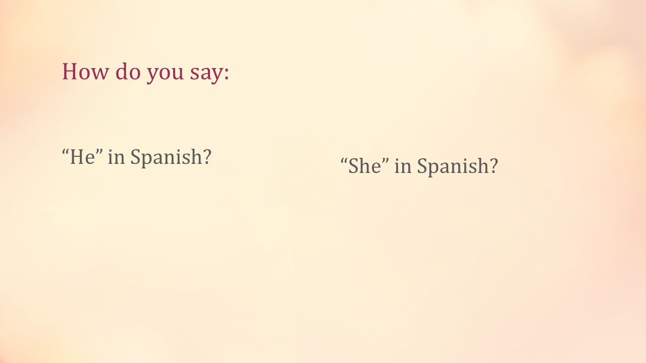 How do you say: He in Spanish? She in Spanish?