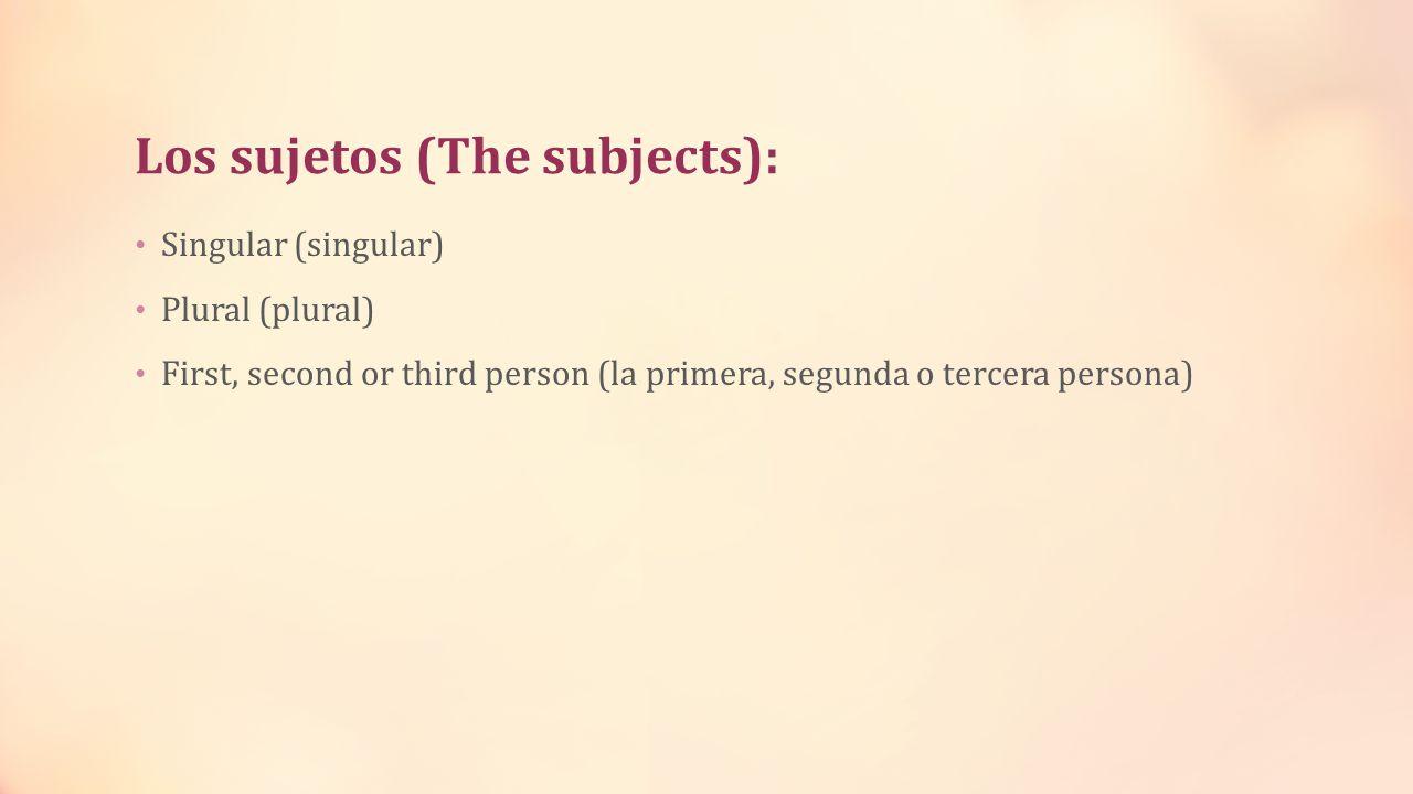 Los sujetos (The subjects): Singular (singular) Plural (plural) First, second or third person (la primera, segunda o tercera persona)