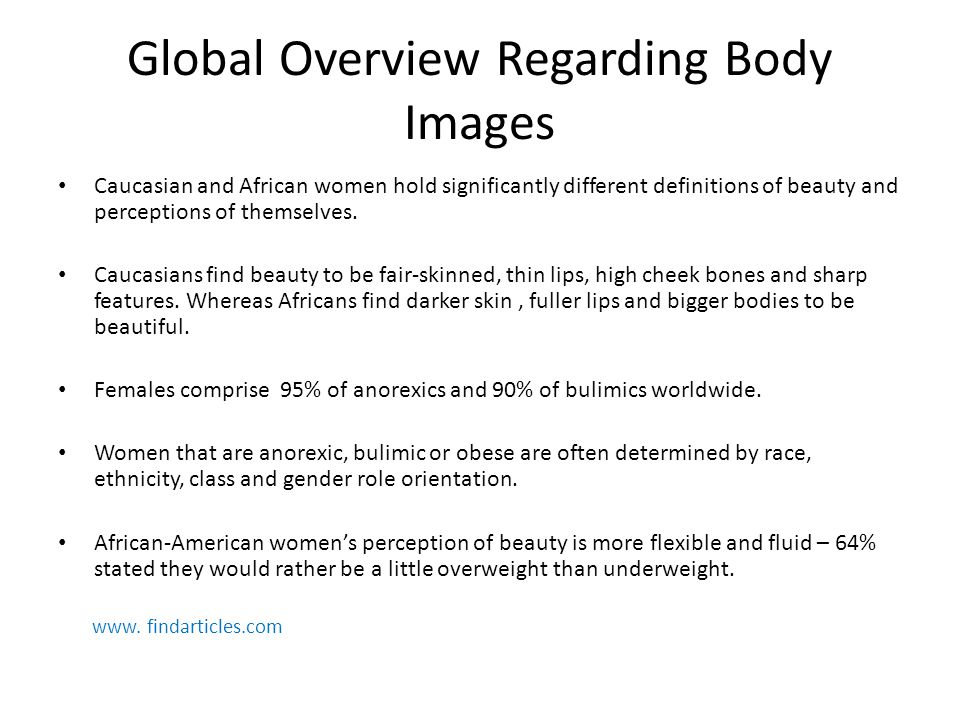 African Perspective Regarding Body Images Both black and white women partially base their judgments of their bodies on what men of their race desire.