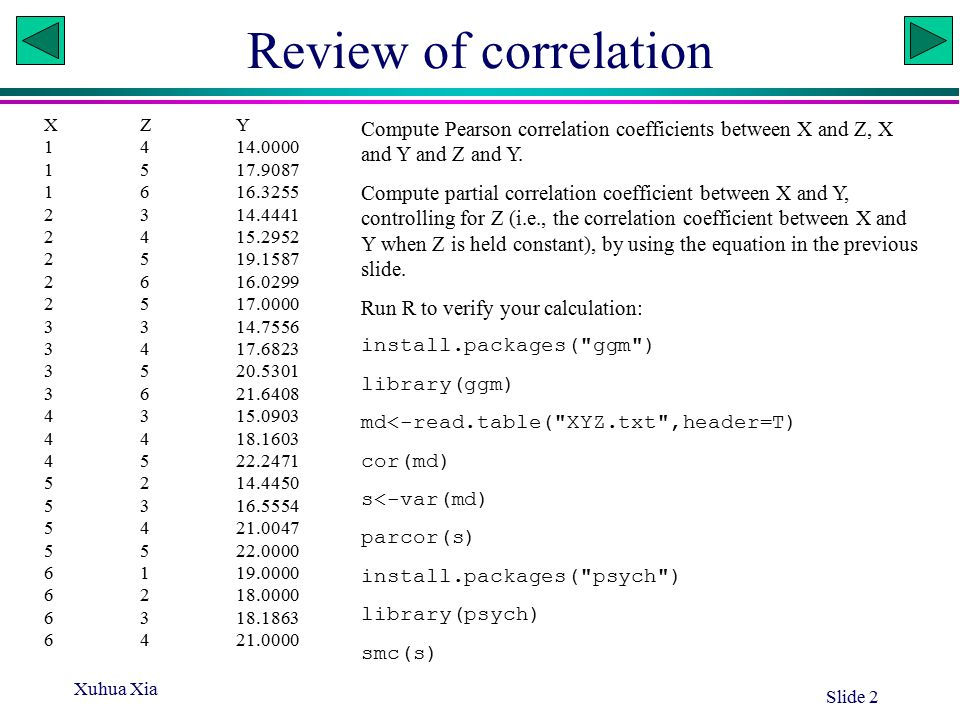 Xuhua Xia Slide 2 Review of correlation XZY 1414.0000 1517.9087 1616.3255 2314.4441 2415.2952 2519.1587 2616.0299 2517.0000 3314.7556 3417.6823 3520.5