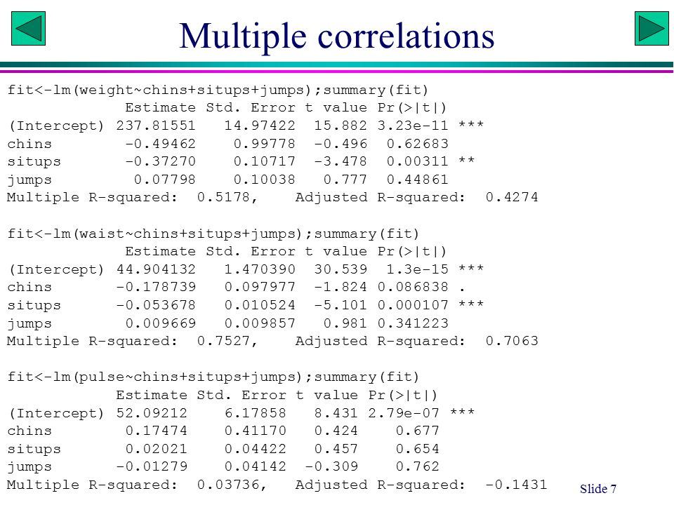 Multiple correlation Slide 8 fit<-lm(chins~weight+waist+pulse);summary(fit) Estimate Std.