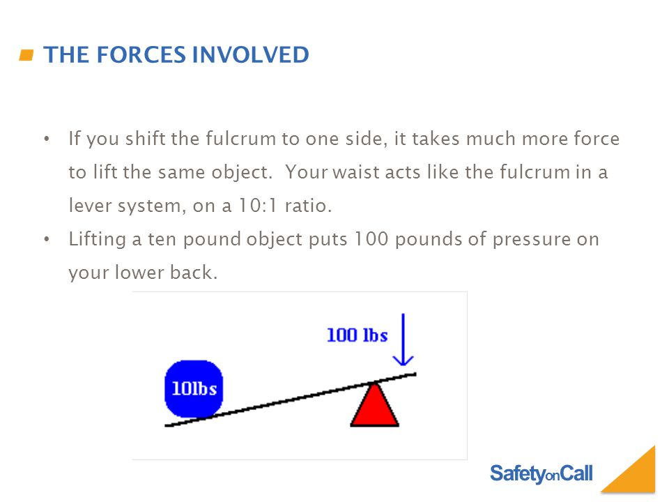 Safety on Call THE FORCES INVOLVED If you shift the fulcrum to one side, it takes much more force to lift the same object.