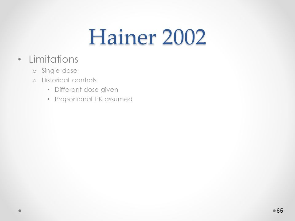 Hainer 2002 Limitations o Single dose o Historical controls Different dose given Proportional PK assumed 65