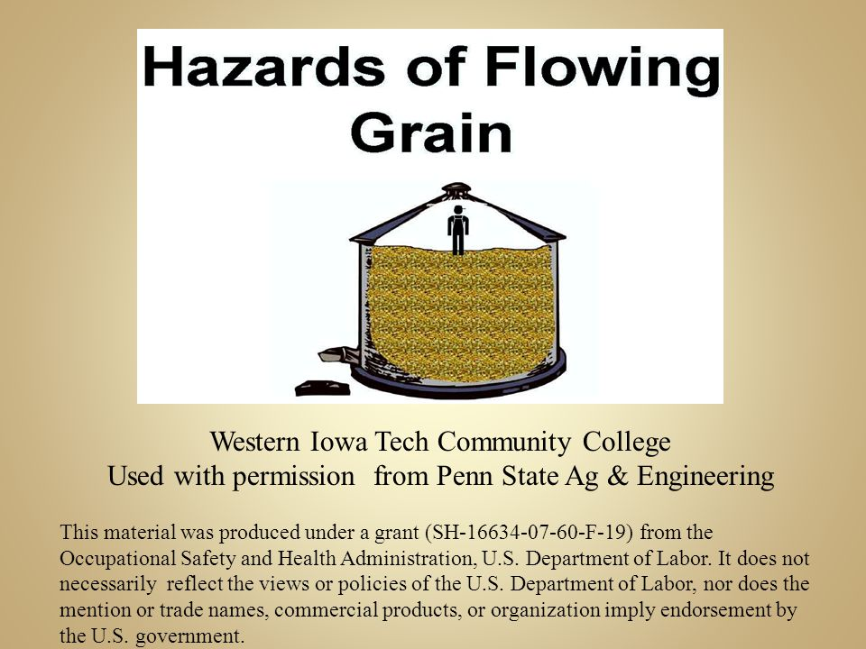 Grain sticks to the side of the bin for the same reasons as it bridges It draws moisture and molds causing large masses If the wall of grain is taller than you it can cover you when it breaks up