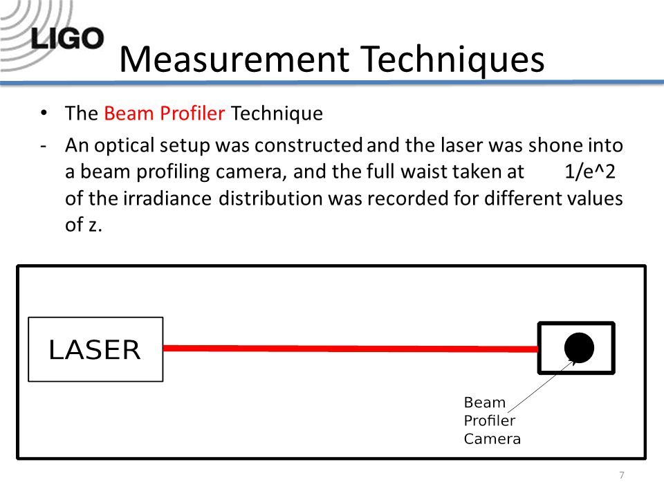 Measurement Techniques The Beam Profiler Technique -An optical setup was constructed and the laser was shone into a beam profiling camera, and the full waist taken at 1/e^2 of the irradiance distribution was recorded for different values of z.