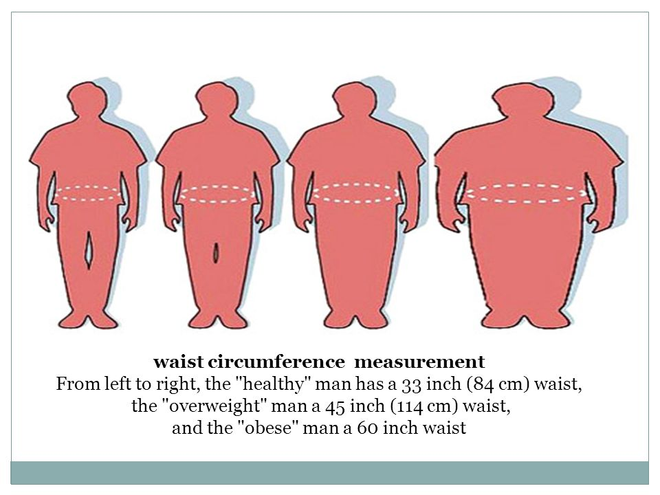 waist circumference measurement From left to right, the healthy man has a 33 inch (84 cm) waist, the overweight man a 45 inch (114 cm) waist, and the obese man a 60 inch waist