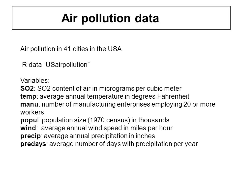 Air pollution in 41 cities in the USA.