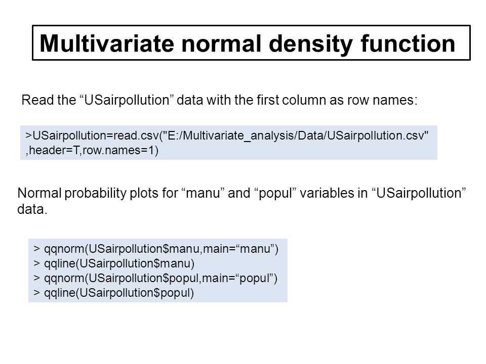 Read the USairpollution data with the first column as row names: >USairpollution=read.csv( E:/Multivariate_analysis/Data/USairpollution.csv ,header=T,row.names=1) Normal probability plots for manu and popul variables in USairpollution data.