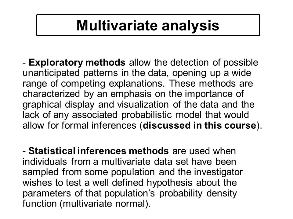 Covariance matrix for gender female in Measure data >cov(subset(Measure,Measure$gender== female )[,c(1:3)]) chest waist hips chest 2.277778 2.166667 1.500000 waist 2.166667 2.988889 2.633333 hips 1.500000 2.633333 2.900000 Covariance matrix for gender male in Measure data >cov(subset(Measure, Measure$gender== male )[,c(1:3)]) chest waist hips chest 6.7222222 0.9444444 3.944444 waist 0.9444444 2.1000000 3.077778 hips 3.9444444 3.0777778 9.344444 Example of multivariate d Covariance