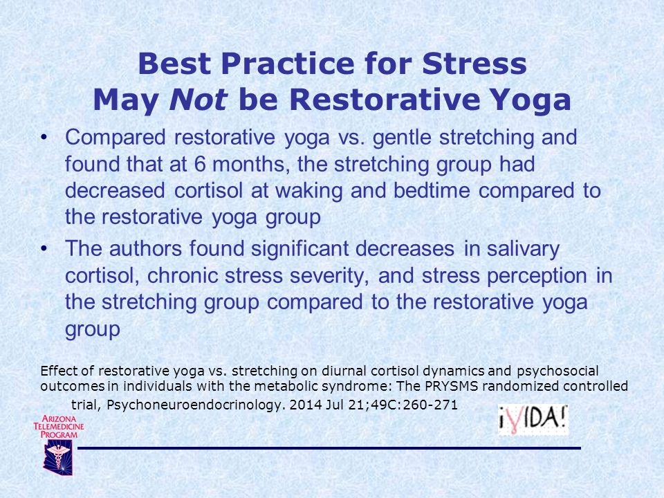 Compared restorative yoga vs. gentle stretching and found that at 6 months, the stretching group had decreased cortisol at waking and bedtime compared