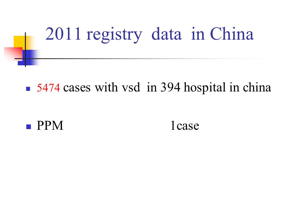 2011 registry data in China 5474 cases with vsd in 394 hospital in china PPM 1case