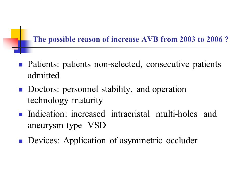 The possible reason of increase AVB from 2003 to 2006 ? Patients: patients non-selected, consecutive patients admitted Doctors: personnel stability, a