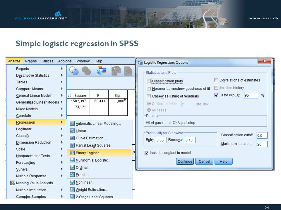 Simple logistic regression in SPSS 24
