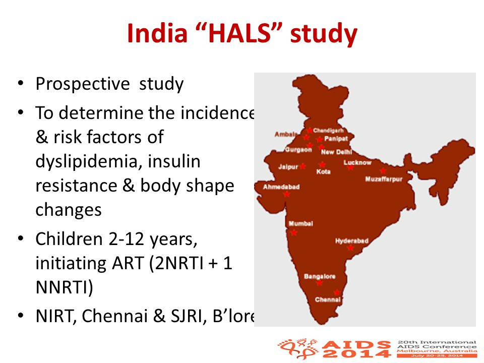 Discussion Even before ART initiation, risk factors for Metabolic syndrome seen in HIV-infected ART-naive children in South India – serum triglycerides > 150mg/dl : 81 children (37%) – HDL-cholesterol < 40mg/dl: 189 children (87%) – HOMA-IR > 3.5 : 29 children (13%) – hs-CRP 3-10mg/dl : 22% of children